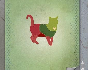 """Retro Poster """"Dangerzones of a cat"""" - ein witziges Weihnachtsgeschenk für Kollegen, Katzenliebhaber und Allergiker"""