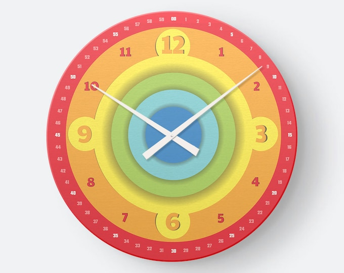 Colorful Children's Clock as Wall Clock in Colored Circle- Easy Readability of Time | EasyRead