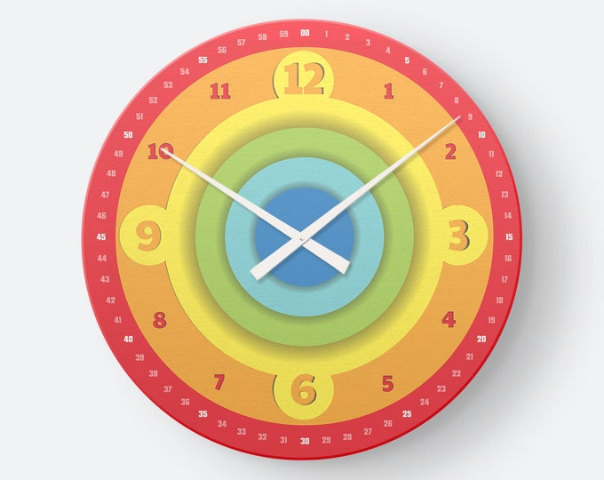 Farbenfrohe Kinderuhr als Wanduhr in Colored Circle- leichte Lesbarkeit der Zeit | EasyRead Weihnachtsgeschenk