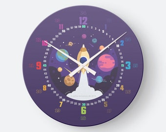 Learning clock with system as wall clock for children from 5 years   for preschool or back to school