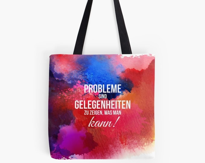 "Carrying bag shopper ""problems are opportunities"" watercolor as chic gift for Mother's Day"