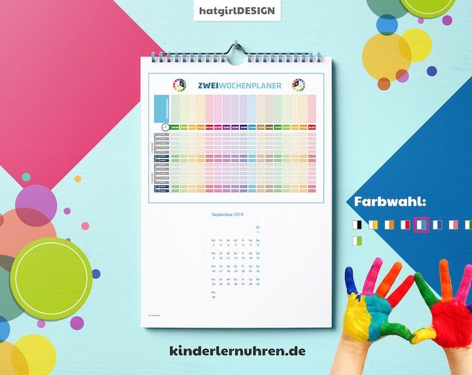 JAHRESKALENDER - Familienkalender mit ZweiWochen Detailplanung und Tagestruktur - Kinderlernuhren.de-Zubehör Weihnachtsgeschenk