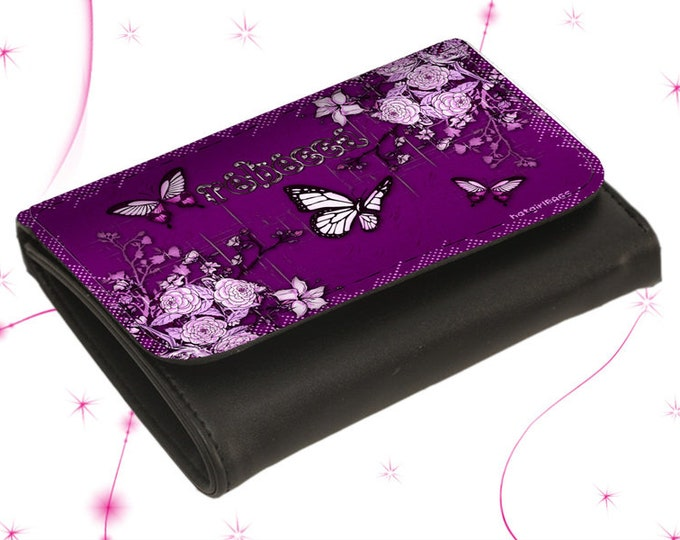"Wallet Leather Exchange ""Vintage Butterfly"" ""+ Your Name"