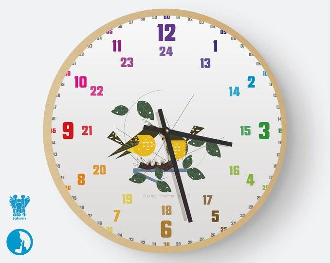Lernuhrsystem als geräuschlose Wanduhr für Kinder inkl. Bastelbogen, Kalender und Übungsblättern   Regenbogenziffern Flamingo