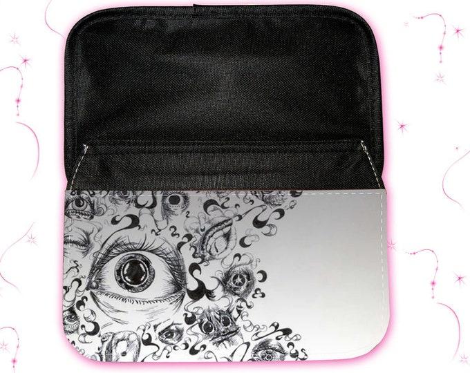 """Feather bag - make-up bag """"Eye"""" Christmas gift"""