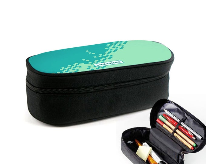 Colourful Pattern Pixel Case with Zipper as Ramschfolder, Makeup Case or Eyeglass Case Christmas Gift