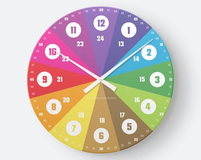 Featured listing image: Personalisierbare Lernuhr für Kinder mit 24 Stunden Anzeige als Regenbogenuhr Geräuschlose Wanduhr Aktiv Verfügbarkeitsbenachrichtigungen: 0