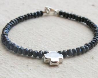 Black spinel bracelet. Black spinel and sterling silver cross. Cross bracelet. Black spinel  and sterling silver solid cross bracelet.