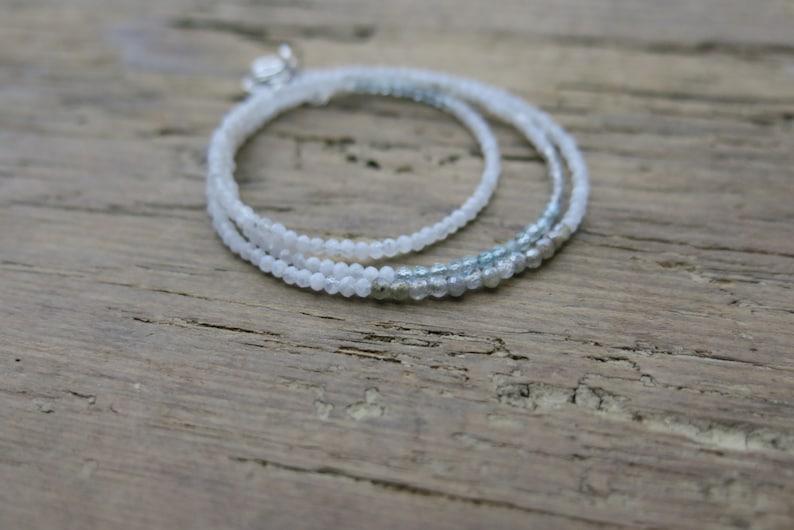 June gift. Rainbow moonstone Rainbow moonstone bracelet aquamarine and labradorite bracelet Minimalist moonstone triple wrap bracelet