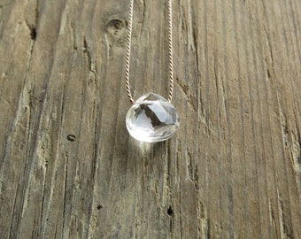 Clear quartz  necklace. Crystal quartz necklace. April birthstone. Minimalist  clear quartz briolette necklace. Quartz pendant necklace
