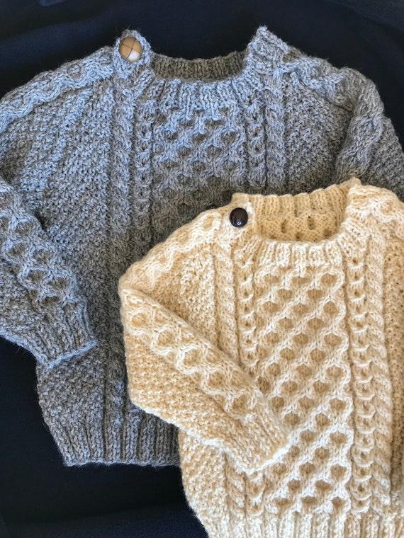 b0cdb27bec2094 Irish Aran 100% Wool Toddler Sweater Design C