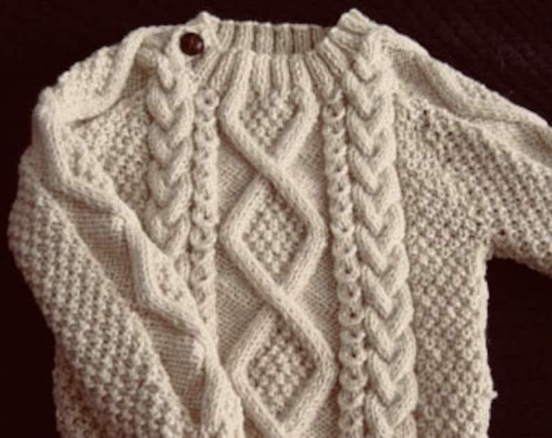 59ecd3daf37184 Irish Aran 100% Wool Toddler Sweater Design A