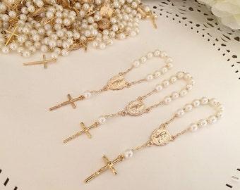 30 baptism favors acrylic pearls vintage gold /mini rosaries/ communion favors/ decenario / recuerdo  para bautizo/ christening favor