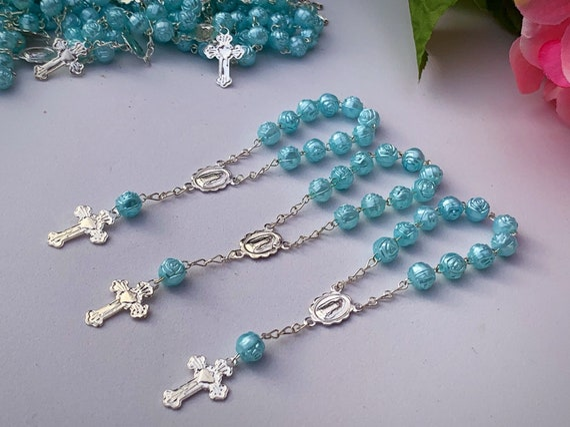 25 Baptism Favors Hot Pink// Communion Favor// Mini Rosary Recuerditos Silver Tone