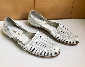 73a35616d888 White Leather Huarache Flats