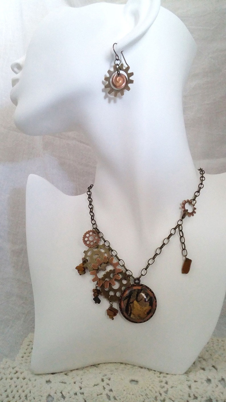 Fused Glass Handmade Jewelry Ready to Ship and Tigers Eye gemstone chips Butterfly Dreams Steampunk Necklace with Gears