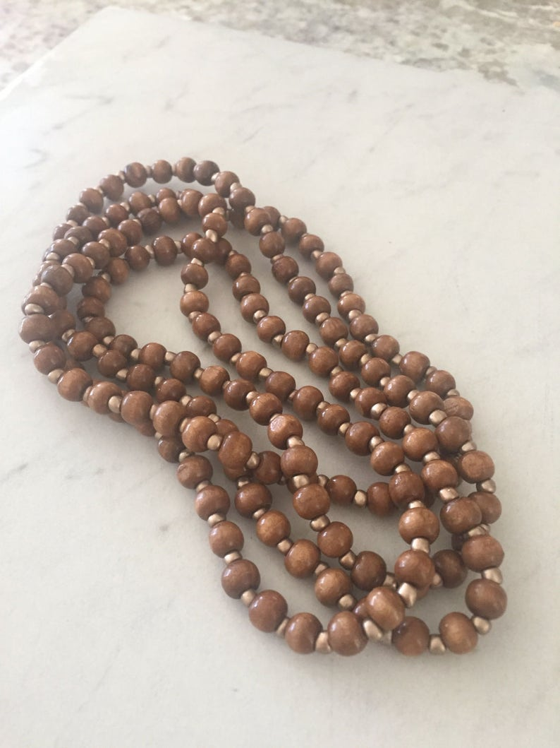 Extra Long 60 inch Wood and Gold Beaded Wrap Around Twice Choker Necklace Boho Style Free shipping! BROWN OR BLACK