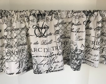 Valance French Paris Script White Black And Gray Custom Made Window Treatment 53 Inches W X 14 L