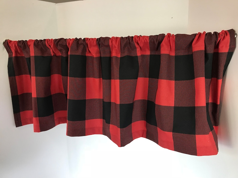 Valance Black and Red Buffalo Check Plaid Window Treatment Custom Made 53 inches W X 14 inches L