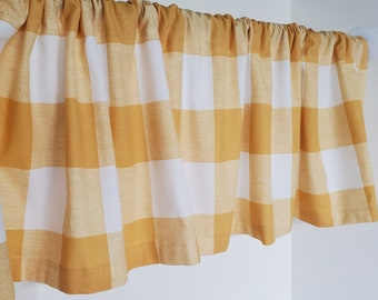 Valance Yellow and White Buffalo Check Plaid Window Treatment 53 inches W x 14 inches L