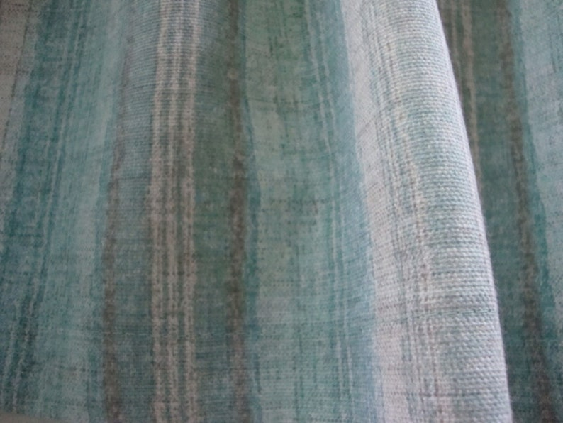 Valance Teal Gray and White Muted Stripe Custom Made Window Treatment 42/'W x 14 L