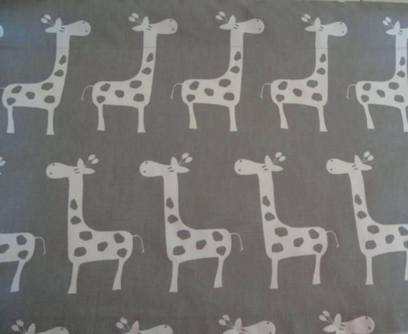 Valance Gray and White Giraffe Window Treatment Nursery Classroom Kids Room 53 W x 14 L