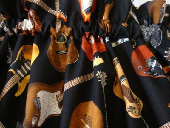 Guitars Music Valance Curtain 42 W x 13 L