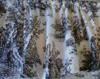 Valance Black and White Toile Window Treatment Custom Made 53 inches W X 14 inches L