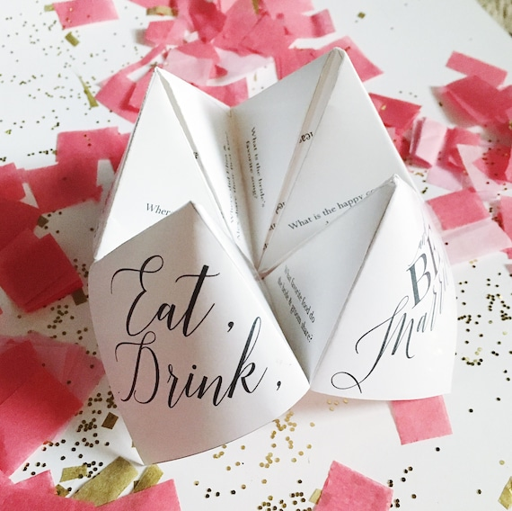 Printable Wedding Program Menu Favor Cootie Catcher Fortune