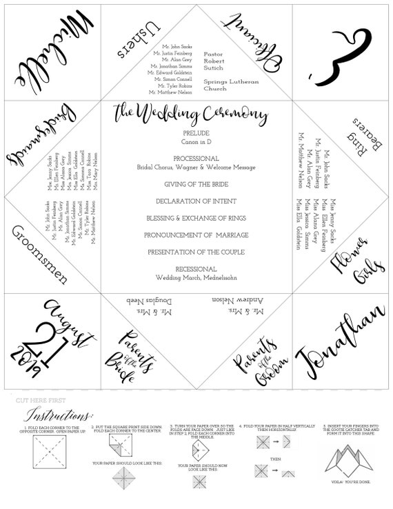 photo regarding Cootie Catcher Printable referred to as Fortune Teller/Cootie Catcher - Wedding day Software - Wedding ceremony Menu Template - Printable Template - Rehearsal Supper - Marriage ceremony Like - Menu
