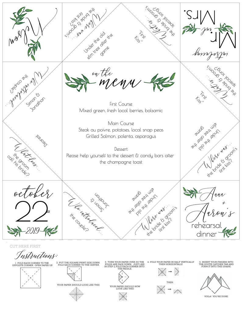 photo regarding Printable Cootie Catcher Template named Fortune Teller/Cootie Catcher - Kraft Wedding ceremony Software package - Wedding ceremony Menu Template - Printable Template - Rehearsal Meal - Marriage Like