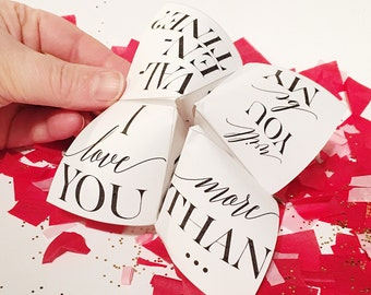 DIY Customizable Printable Valentine - Cootie Catcher/Fortune Teller (Edit Yourself Immediately!) - I love you more than - Valentine's Day