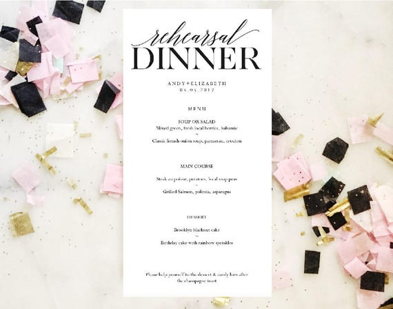 rehearsal dinner menu wedding menu template instant etsy