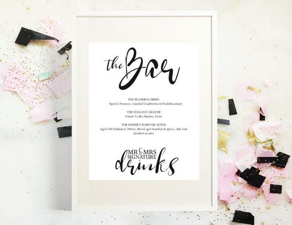 Mr And Mrs Signature Drink Menu PDF Instant Download Wedding