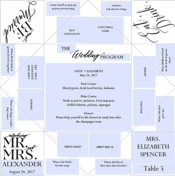 Place Setting Printable Wedding Program Menu Favor Cootie