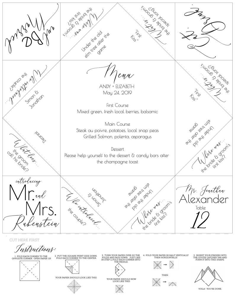 photograph regarding Paper Fortune Teller Template Printable named Fortune Teller/Cootie Catcher - Desk Assignment - Marriage Menu Template - Printable Template - Rehearsal Supper - Marriage Like - Menu