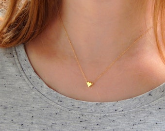 Dainty vermeil gold heart necklace, tiny simple gold heart necklace, love necklace, children necklace kids necklace, initial necklace, 321