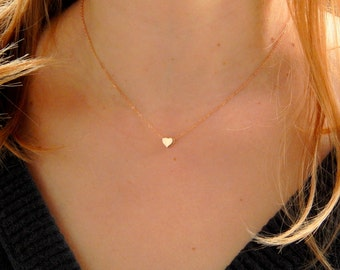 Dainty rose gold heart necklace, vermeil rose gold heart necklace, love necklace, children necklace kids necklace, initial necklace gift 409