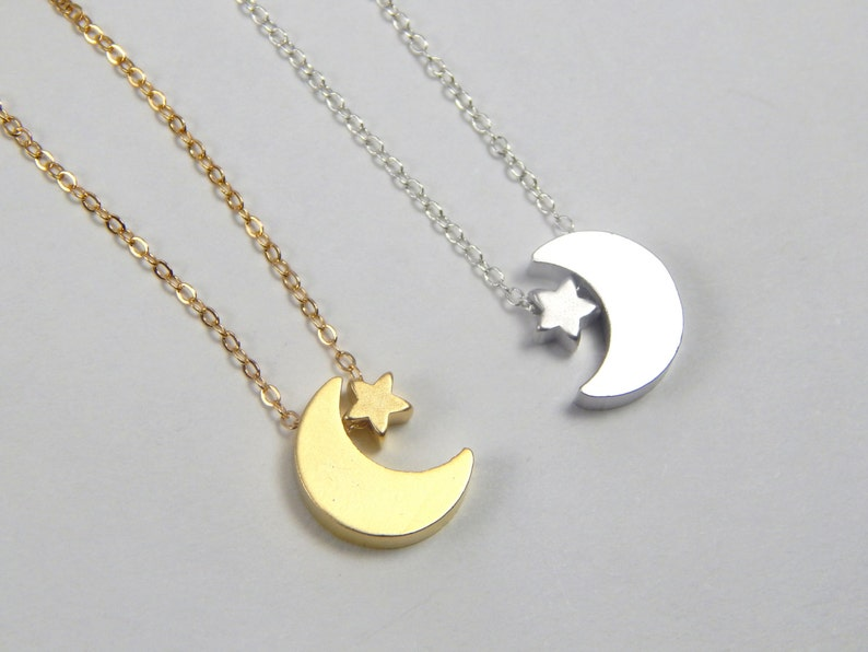 minimalist necklace tinny star necklace mini crescent celestial jewelry gift for her Moon and star necklace silver moon star necklace