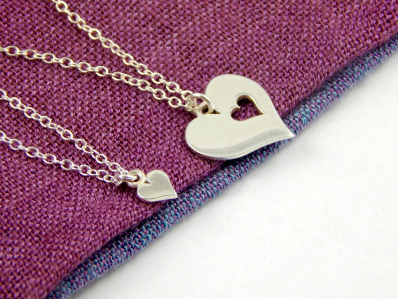 Two hearts 2 Heart love mother daughter valentine/'s gift birth necklaces mummy daughter sterling silver love necklace maternity necklace 348