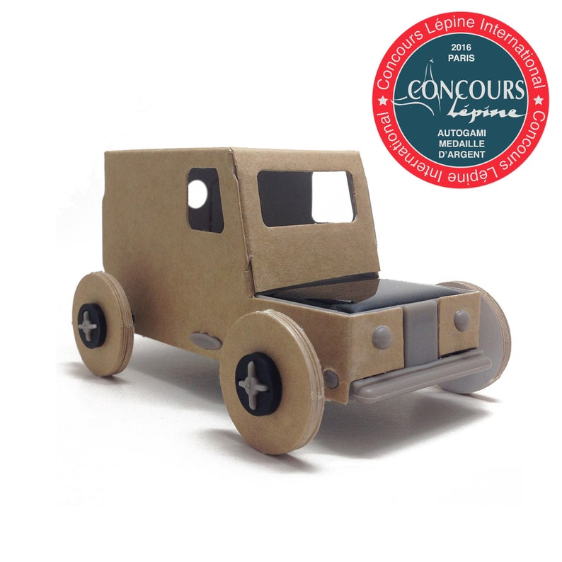 Ecologic and fun Miniature SOLAR cardboard car - diy - handmade -  sustainable gift - christmas gift - educational toy - made in France