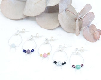 Natural stone drop earrings - Sterling silver