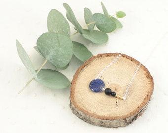 Women's necklace silver blue / pink / purple - Sterling silver