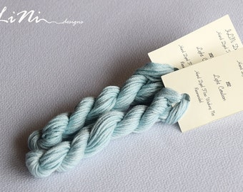 Hand dyed cotton thread / floss (6 strands) light cerulean (162) for cross stitch / embroidery