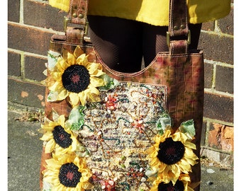 Sunflower - OOAK handmade leather handbag with altered fabric