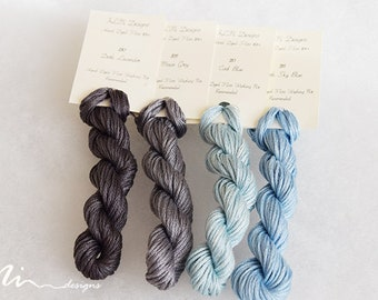 Hand dyed cotton thread / floss (6 strands) 4 colours exclusive winter I collection for cross stitch / embroidery
