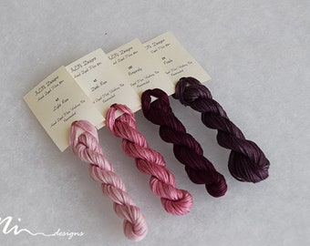 Hand dyed cotton thread / floss (6 strands) 4 colours exclusive dusk rose and burgundy collection for cross stitch / embroidery