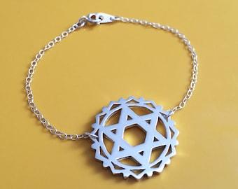 Sterling Silver Heart Chakra Bracelet