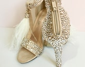 Bridal Shoes Wedding Shoes Nude Suede Heels with Swarovski Crystals and Feather Tassels Silk Crystals Encrusted Shoes