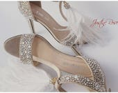 Wedding Shoes Hand Embellished with Swarovski Bridal Shoes with White Feathers Crystal Heels